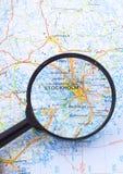 Vergrößerungsglas über Stocholm, Schweden-Karte Stockfoto