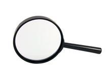 Vergrößerungsglas auf einem Weiß Stockfoto