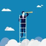 Vergrößerungsglas, das auf ein Diagramm sich konzentriert Kletternde Leiter, die Gelegenheit schaut Stockbilder