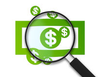 Vergrößerungsglas - Dollar-Anmerkung Stockfotografie