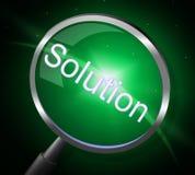 Vergrößerungsglas-Lösung zeigt die suchende und vergrößernde Suche an Lizenzfreie Stockfotografie