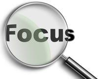 Vergrößerungsglas mit Fokus Lizenzfreie Stockfotos