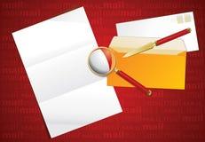 Vergrößerungsglas, Papiermesser und Planzeichen. Lizenzfreie Stockbilder