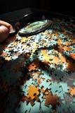 Vergrößerungsglas, Puzzlespiel Stockbilder