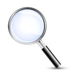 Vergrößerungsglas, Recherche, Sicherheit Stockbild