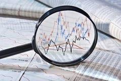 Vergrößerungsglas- und Aktienkurse Stockfoto