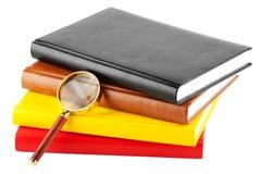 Vergrößerungsglas und Bücher lizenzfreies stockbild
