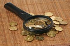 Vergrößerungsglas und Münzen Lizenzfreies Stockbild