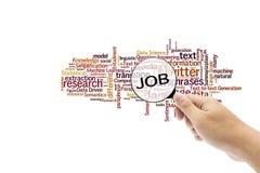 Vergrößerungsglas und Suchraum für Job in lokalisiertem Hintergrund Stockfotos
