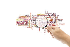 Vergrößerungsglas und Suchraum für Wortidee in lokalisiertem Hintergrund Lizenzfreie Stockbilder