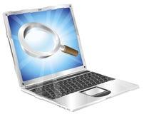 Vergrößerungsglasrechercheikonen-Laptopkonzept Lizenzfreies Stockfoto