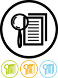 Vergrößerungsobjektiv und Dokument - vektorikone Lizenzfreies Stockbild