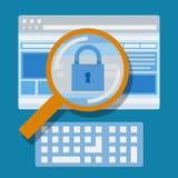 Vergrößerungswebsite, Internet-Sicherheit Lizenzfreie Stockbilder