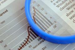 Vergrößerungsglas und Leistungsblatt Lizenzfreies Stockfoto