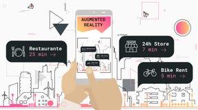 Vergroot het toerisme mobiel app van de werkelijkheidsstad concept vector illustratie