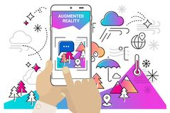 Vergroot werkelijkheids mobiel app concept stock illustratie