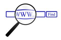 Vergrootglas die Web vinden royalty-vrije stock foto's