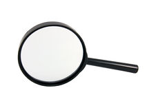 Vergrootglas op een wit stock foto