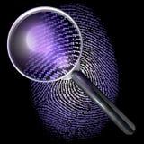 Vergrootglas over de vingerafdruk van het puntnet, aangestoken uv Stock Afbeelding