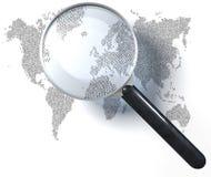 Vergrootglas over 1-0-net wereldkaart Stock Afbeelding