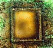 Verguld frame op grunge Stock Afbeelding