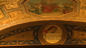Verguld plafond van bibliotheek (1 van 2) stock footage