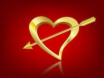 Vergulde hart en pijl Stock Afbeeldingen