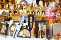 Vergulde toeristenherinneringen in Toledo Royalty-vrije Stock Foto