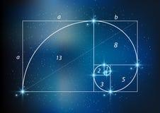 Verhältnis des goldenen Schnitts, göttlicher Anteil und goldene Spirale auf sternenklarem Himmel, vector transparentes stock abbildung
