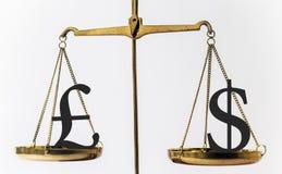 Verhältnis zwischen dem Pfund und dem Dollar Stockfotos