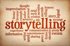 Verhaal en storytelling woordwolk stock afbeeldingen