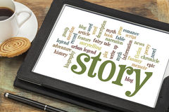 Verhaal en storytelling woordwolken Stock Foto