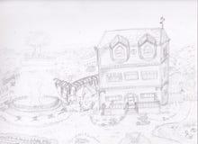 3-verhaal huis met een brede tuin Royalty-vrije Stock Afbeeldingen