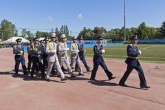 Verhaal militair personeel van vriendschappelijke landen, gediplomeerden van Militaire ruimteacademieimeni A F Mozhaisky royalty-vrije stock fotografie