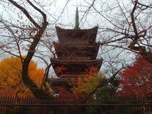 5-verhaal pagode in Ueno-Park stock afbeeldingen