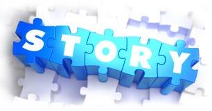 Verhaal - Wit Word op Blauwe Raadsels Stock Foto