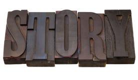 Verhaal - woord in letterzetseltype Stock Foto