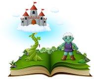 Verhaalboek met magische bonestengel, kasteel in de wolken en de groene reus vector illustratie