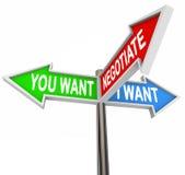 Verhandeln Sie über Sie und ich wünsche Straßenschild-Verhandlungs-Vereinbarung Stockbild