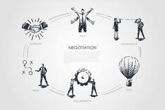 Verhandlung - Fähigkeiten, Ziel, Taktik, stehen, gesetztes Konzept der Zusammenarbeit in Verbindung stock abbildung