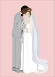 Verheiratetes Paar, das sich umfasst lizenzfreie abbildung