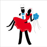 Verheiratetes Paar stilisiert in Rotem und in weißem stock abbildung