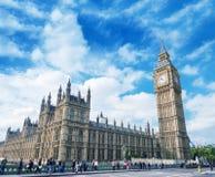 Verhevenheid van de Brug van Westminster en Huizen van het Parlement, Lon Stock Foto