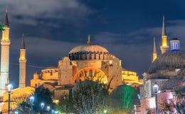 Verhevenheid van Hagia Sophia Museum bij nacht, Istanboel, Turkije royalty-vrije stock foto's