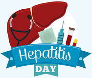 Verhinderungs-und Steuerwerkzeug-Ausrüstung, Hepatitis-Tag gedenkend, Vektor-Illustration Stockfoto