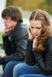 Verhältnis-Schwierigkeiten der Paare der jungen Leute Stockfoto