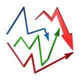 Verhoging, het symboolreeks van de dalingspijl, pictogram bedrijfsconcept Vector illustratie op witte achtergrond Stock Afbeeldingen