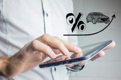 Verhoging van rente op autoleningen Stock Foto