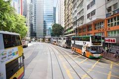 Verhoogde wegbaai, Hong Kong S A r - 13,2017 juli: Kleurrijke Advertisemen Royalty-vrije Stock Foto's