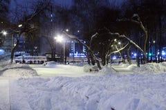 Verhoogde wegen, bank in stadspark bij de winternacht stock afbeelding
